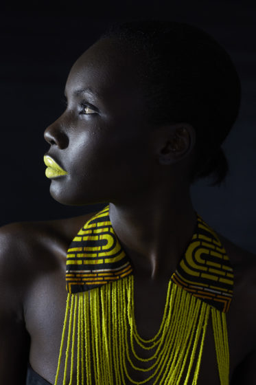 CAPE TOWN, SOUTH AFRICA - JANUARY 3: Ugandan model Patricia Akello wears a necklace by the Ugandan label Halisi. Akello is one of many models from around Africa who move to South Africa to launch a regional and international career on January 3, 2015, in Cape Town, South Africa. (Photo by: Per-Anders Pettersson)